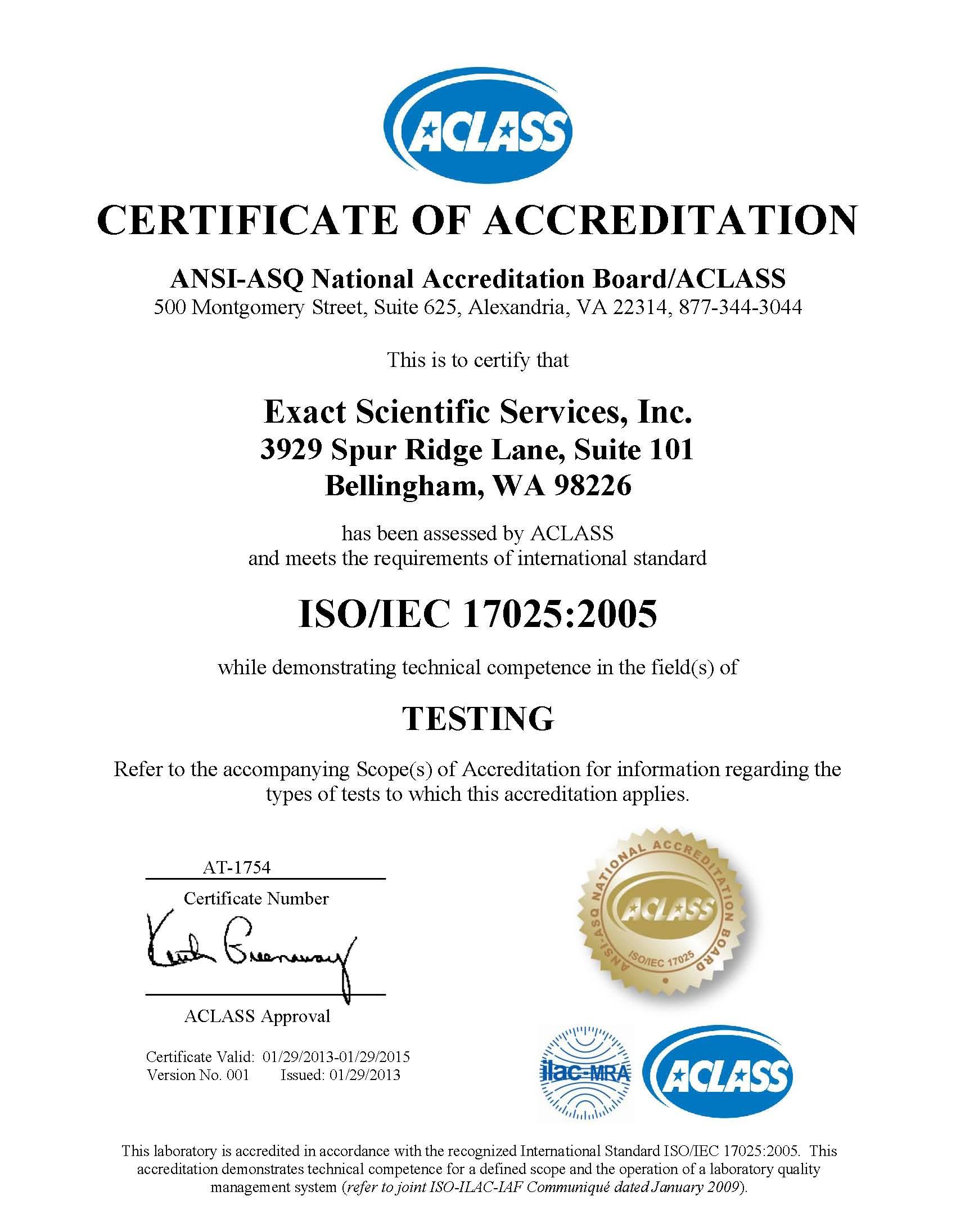 A2 la iso 17025 accreditation certificate