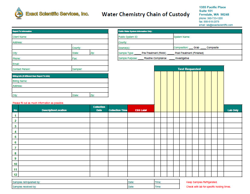 Exact Scientific Services | Chain of Custody Forms
